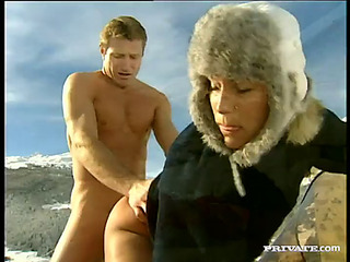 Delightful blond with natural meatballs licking baloney outdoor