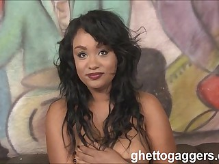 Cute felonious whore Kylayah Sparks gets trashed at ghetto gaggers