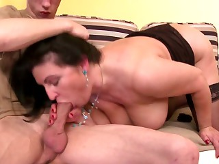 MOM son's best collaborate hot old and young couple