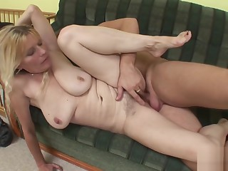 Flimsy Mom succeed in fucked by team up be fitting of the brush son
