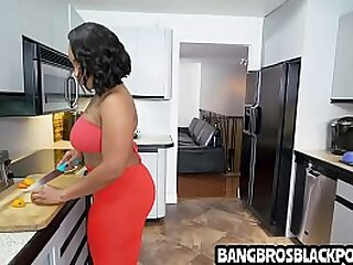 Stepmom deals near her boyfriends' son who has a big dig up - black porn