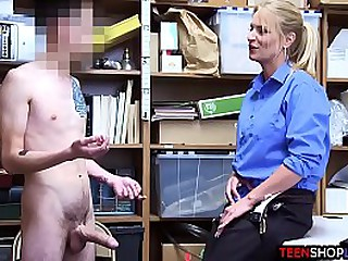 MILF lost prevention officer caught a young male thievery