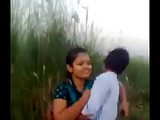 Desi Couple Romance And Kissing In the matter of Fields Outdoor